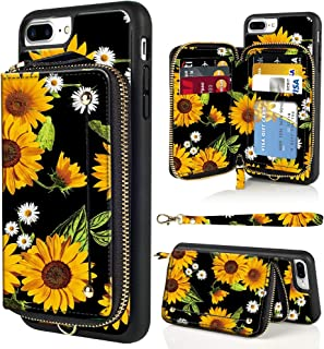 LAMEEKU iPhone 8 Plus Case, iPhone 7 Plus Wallet Case, Floral Flower Sunflower Design Zipper Leather Card Holder Case with Shockproof Protective Cover for iPhone 7 Plus/8 Plus-Sunflower4