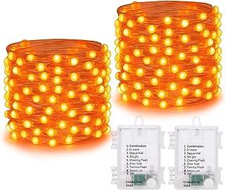 [2 stuks] 50 LED Batterij van Feeënlichten, Joomer 5M Zilverdraad Lichtslingers met Timer, 8 Standen Indoor Kerstverlichti...