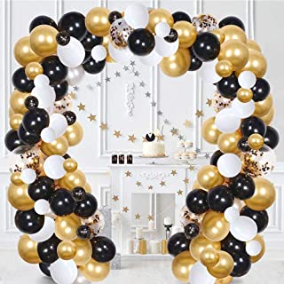 Balloon Arch & Garland Kit, 120Pcs White, Black, Gold Confetti and Metal Latex Balloons with Balloon Strip Tape, Glue Poin...