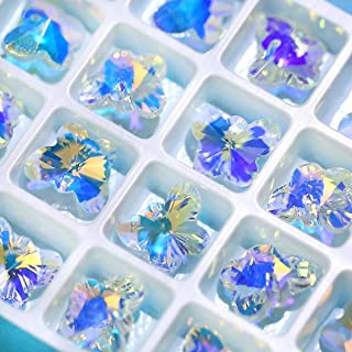 Nibiru 28 pcs Charms Crystal AB Glass Loose Beads Crystal Gemstone for Jewelry Making Decorations (28pcs 14mm Butterfly)
