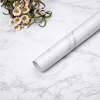 Niviy Papier Adhésif pour Meuble 45 cm × 200 cm, Gris Papier Adhesif Marbre, Film Auto Adhésif Sticker Marbre de PVC Imper...