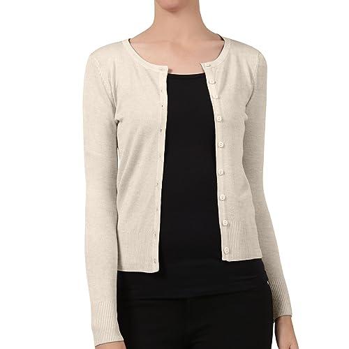 NE PEOPLE Womens Basic Crewneck Button Down Long Sleeve Cardigan Sweater 6b01cf9ff