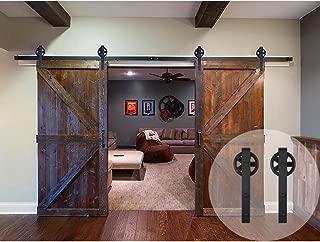 6.6//7.5//8 FT Modern Steel Sliding Barn Door Closet Hardware Set Spoke Wheel New