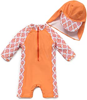 upandfast Kids One Piece Zip Sunsuit with Sun Hat UPF 50+ Sun Protection Baby Swimsuit