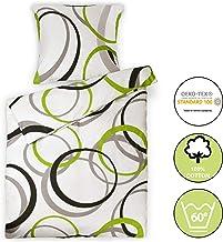 Beautissu Renforcé Bettwäsche 135x200 cm Bezug Set Nina Bettdecken Bezug & Kissenbezug 80x80 cm - Bettbezug mit Reißverschluss und 100% Baumwolle