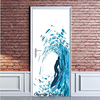 Ride The Wave Door Wall Mural Wallpaper Stickers,Silhouette of a Surfer under Giant Ocean Waves Athlete Hobby Lifestyle Image,Vinyl Removable 3D Decals 35.4x78.7/2 Pieces set,for Home Decor Night Blue