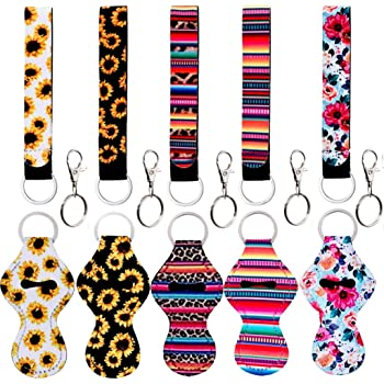 Amazon Com 10 Pack Chapstick Holder Keychains With Wristlet