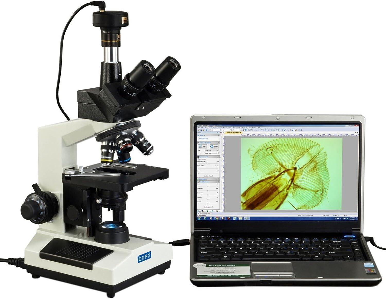 40X1600X Trinocular Compound LED Microscope with 9MP USB Digital Camera