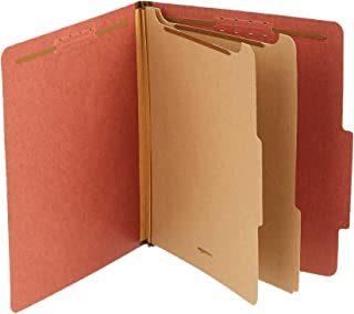 Amazon Basics Pressboard Classification File Folder with Fasteners, 2 Dividers, 2 Inch Expansion, Letter Size, Red, 10-Pack