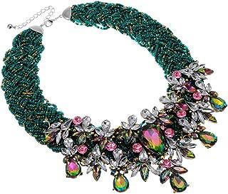 Fashion Jewelry Resin Acrylic Beads Cluster Chain Choker Collar Crystal Rhinestone Bib Statement Pendant Necklace