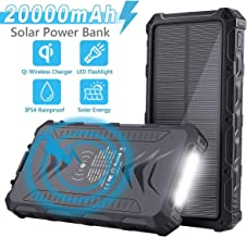 Solar Power Bank, Uplayteck 20000mAh Portable Phone Charger with 4 Outputs, Qi Wireless, Type-C, SOS Flashlight, Rainproof External Backup Battery for Hiking Camping Outing