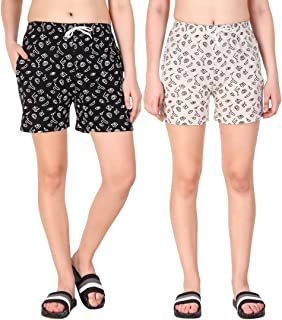 Kavya Retail Casual Wear Cotton Fabric Check Printed Shorts for Women's and Girl's Pack of 2 (Size-26, 28, 30, 32, 34) Color-Multicolor