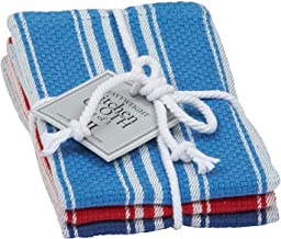 Design Imports Seashore Table Linens, 13-Inch by 13-Inch Dishcloth Gift Set, Set of 3, Maritime Heavyweight, 1 Light Blue,...