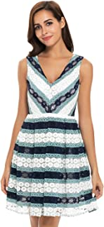 Women Floral Sleeveless Deep V Neck Lace Midi A Line Hollow Out Dress