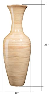 """Villacera Handcrafted 28"""" Tall Natural Classic Floor Vase for Silk Plants, Flowers, Filler Decor   Sustainable Bamboo"""