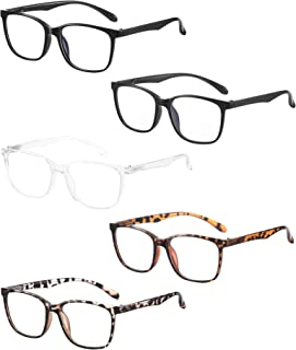 Axot Blue Light Blocking Reading Glasses 5 Pack, Fashion Square Eyeglasses Frame Computer Readers for Men Women
