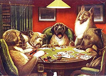 $50-$2000 Handmade Oil Painting by College Teachers - Animal acting human Dogs playing cards Canvas Art for Home Wall Decoration -Size 09
