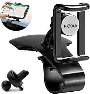 Dashboard Cell Phone Holder, PKYAA 2 in 1 Dashboard Car Phone Mount and Air Vent Car Phone Mount, 360-Degree Rotation Adjustable Mobile Clip Stand Suitable for 4 inches to 6.5 inches Smartphones