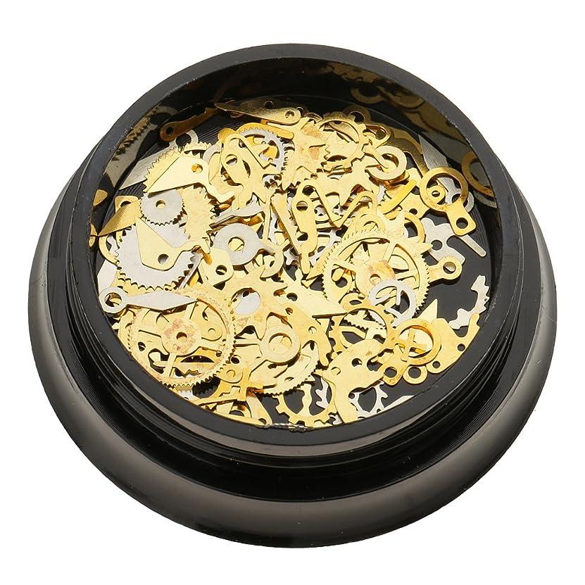 スラム街ロッカー自伝CUTICATE ファッションゴールドスタッド3DネイルアートデコレーションタイムホイールDIYネイルギアパーツ