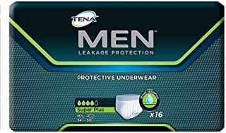 Tena Men Protective Underwear, Super Plus, Medium/Large, Case/64 (4 bags of 16)