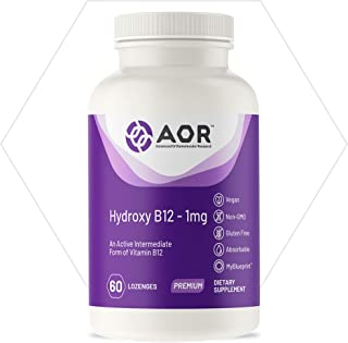 AOR, Hydroxy B12, Supports Cardiovascular Health, Nerve Function and Detoxification, Dietary Supplement, Vegan, 60 Servings (60 lozenges)