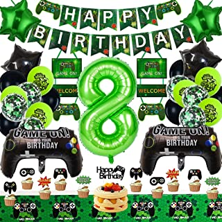 Video Game Party Supplies 8th Game Birthday Party Decorations for Game Fans Kind Boys Girls Game on Birthday Party Supplie...