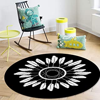 OneHoney Round Area Rugs, Indian Feather Boho Native American Dreamcatcher Indoor Entryway Doormat Throw Runner Rug Floor Carpet Pad Yoga Mat for Living Room Bedroom 5Feet