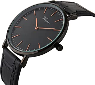 Takyae Men's Slim Leather Band Casual Analog Quartz Watch