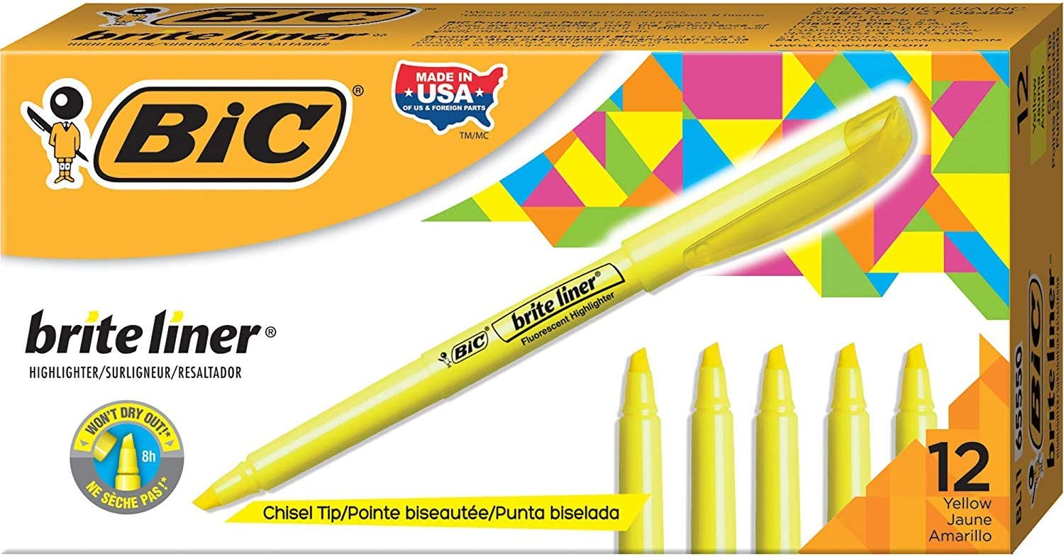 BIC Brite Liner Highlighter Chisel 12-Count Pack overseas Limited time cheap sale Yellow Tip