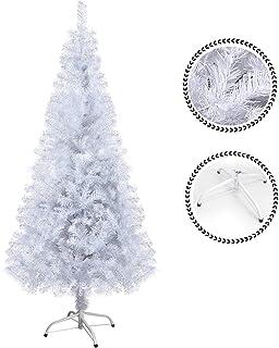 comprar comparacion SunJas Árbol de Navidad Artificial Pino 120/150/180/210CM Árbol Espeso y Lujo Verde/Blanco/Nevado con Copos de Nieve Blanc...