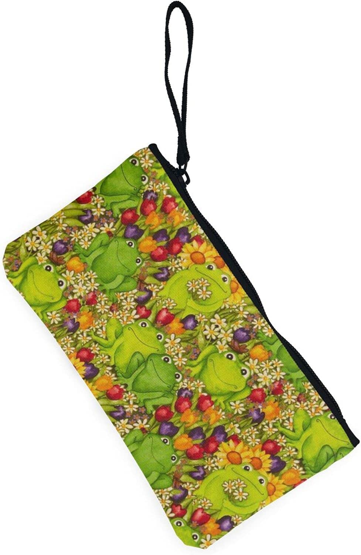 AORRUAM Frog Canvas Coin Purse,Canvas Zipper Pencil Cases,Canvas Change Purse Pouch Mini Wallet Coin Bag