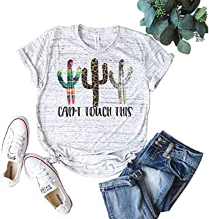 Women's Funny Cactus Graphic T-Shirts Can't Touch This Short Sleeve Summer Tops