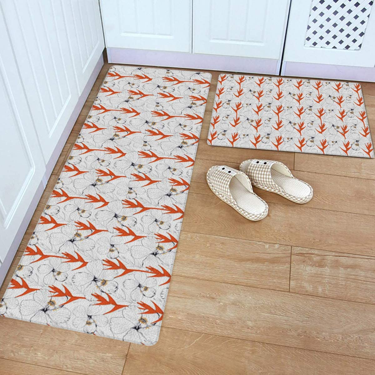 Kitchen Rug Large special price Set 2 Piece PVC Flo Hibiscus White Floor Mat Super special price Leather