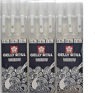 أقلام الجل الأبيض ساكورا جيلي رول بيضاء بأحجام متنوعة، 05 فاين / 08 متوسط/ 10 بولد - حزمة أقلام