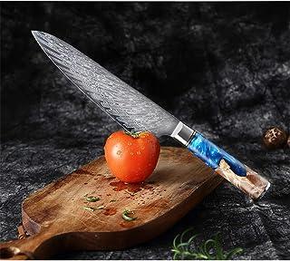 Damas japonais en acier Chef de couteau à éplucher fruits légumes Couteau de cuisine Résine Bleu Couleur bois Poignée de c...