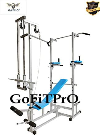 GoFiTPrO ABS Tower with Push up DIPS and 20-in-1 Bench for Workout (Silver)