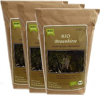 BIO Braunhirse Gemahlen | VORTEILSPACK 3 x 1.000 g | Vom Biohof Beck | Kalt-Vermahlen | Wildform | Urhirse