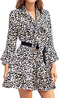 Modaworld Vestiti da Donna,Donna Leopardo Stampa Boho Maxi Dress Signore Vacanza Lunga Manica Lunga Mini Dress Casual Fior...