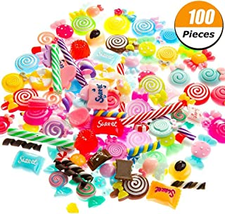 FUNCOCO Slime Charms Beads Supplies Set - Slime Bead Mixed Lollipop Candy Sweets Resin Making Supplies for DIY Crafts Scrapbooking Children's Hair Accessories( 100 Pieces)