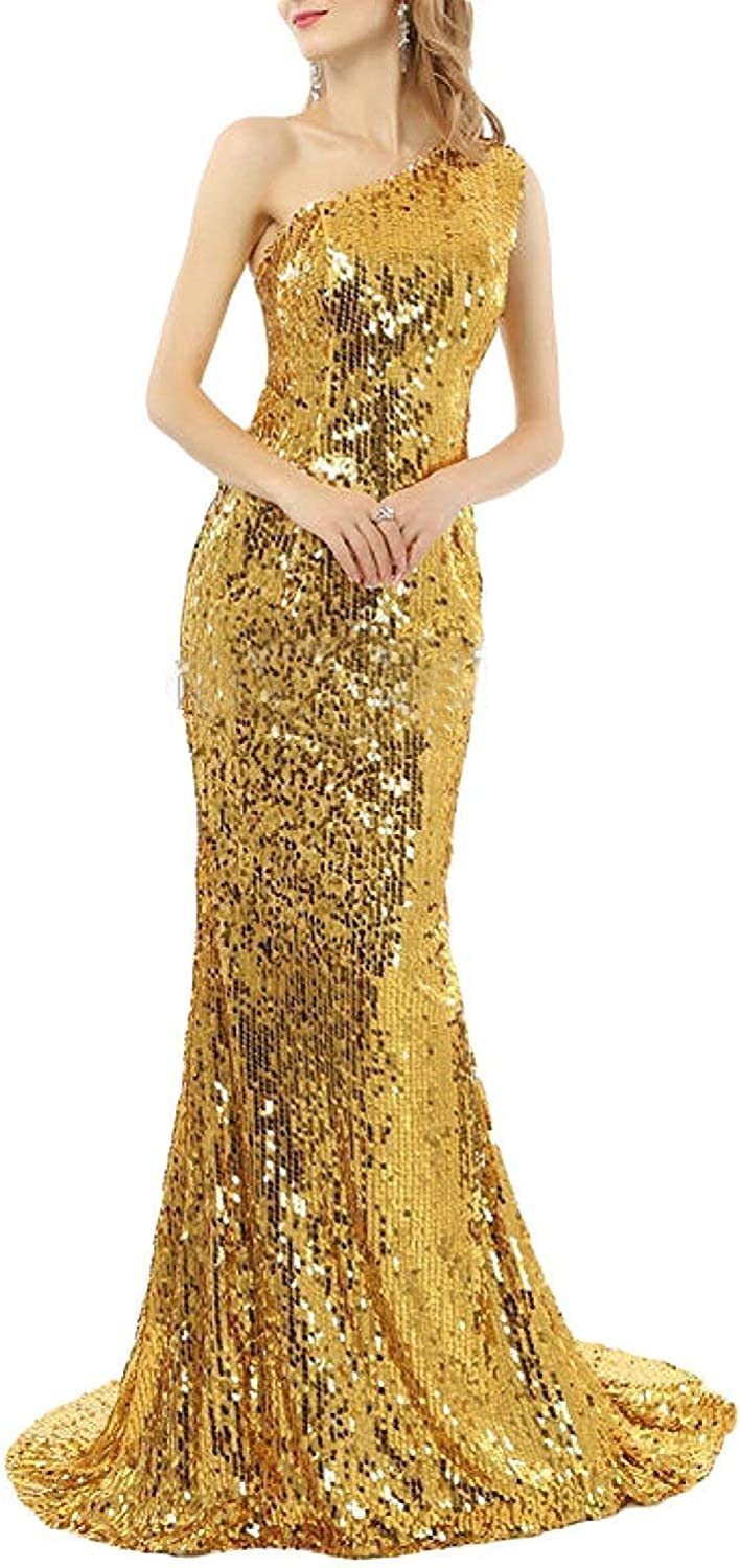 Sulidi Women's Mermaid One Shoulder Sequins Prom Dresses Formal Evening Gown C054
