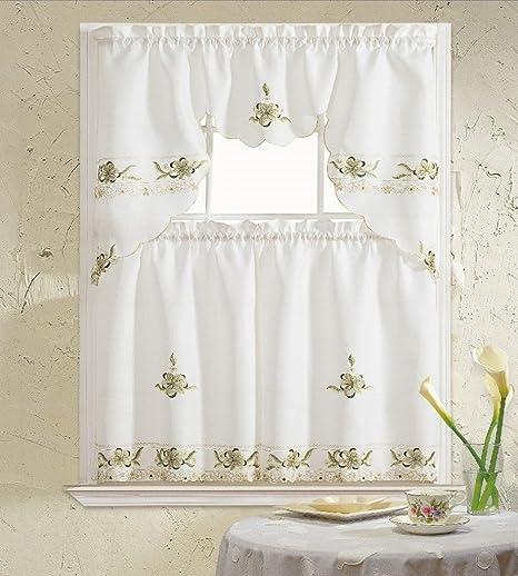 B H Home Aster Floral Embroidered 3 Piece Kitchen Curtain Window Treatment Sage Home Kitchen