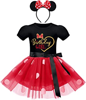 Toddler Baby Girls' Polka Dots Tutu Mouse Dresses Fancy Dance Costume Cosplay Party Dress up with Ears Headband, Black+re...