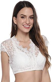 Aibrou Dirndlbluse weiß Bluse Spitze Weiß Elegante Trachtenbluse für Oktoberfest