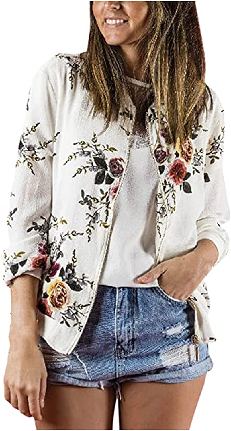 Womens Ladies Casual O Neck Retro Floral Zipper Up Jacket Casual Coat Outwear Raincoat
