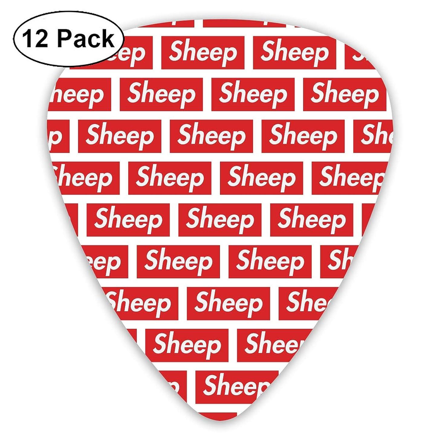 351 Shape Classic Guitar Picks Sheep Words Plectrums Instrument Standard Bass 12 Pack