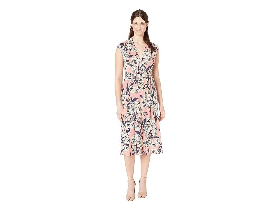 London Times Surplus Midi Dress w/ Self Sash (Pink Multi) Women
