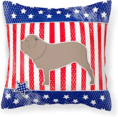 Caroline's Treasures BB3365PW1818 USA Patriotic Neapolitan Mastiff Fabric Decorative Pillow, 18H x18W, Multicolor