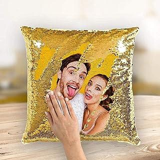 VEELU Cojines Decorativos Sofa Foto Personalizados con Relleno Incluido, Cojines Cama con Mágica Lentejuelas Reversibles, Funda Cojines 45x45, Regalos Originales para Mujer