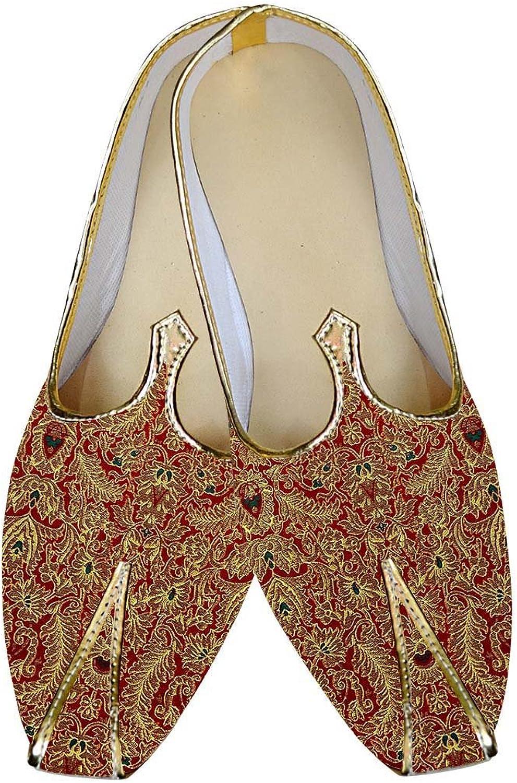 INMONARCH Mens Maroon Wedding shoes Threading Design MJ014840