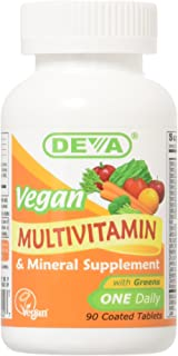 DEVA Vegan Multivitamin & Mineral Supplement - Vegan Formula with Green Whole Foods, Veggies, and Herbs - High Potency - M...